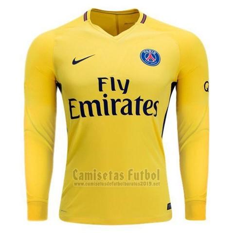 Camiseta Paris Saint-Germain 2ª Manga Larga 2017-2018 barata 591cebfa5b9af